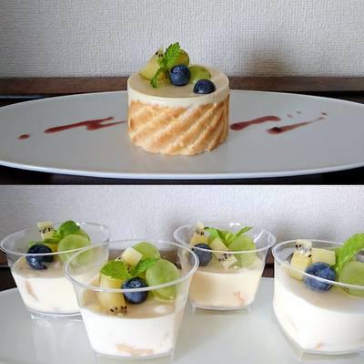 バニラムースのお菓子(お皿の上に&カップの中に)