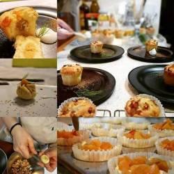 栗餡と林檎のカップケーキ作りの風景