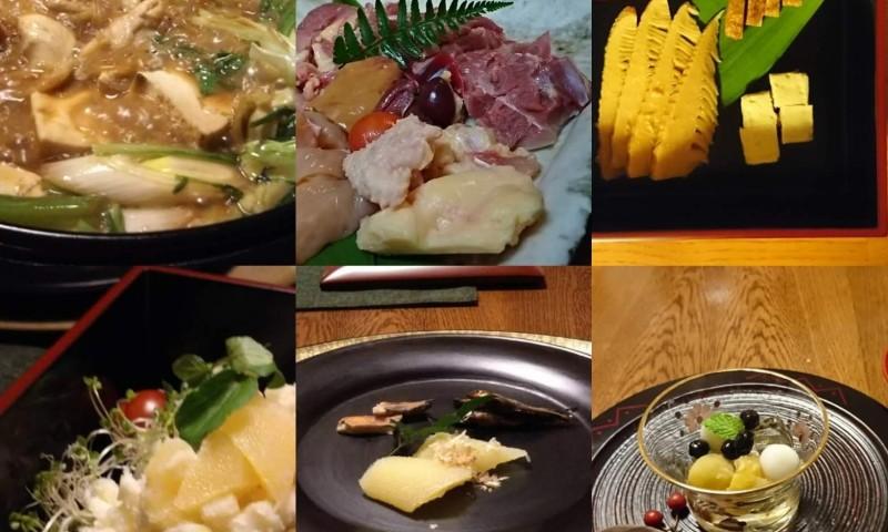 近江しゃもすき焼きや近江の漬物珍味、デザートなどがテーブルに並んでいます