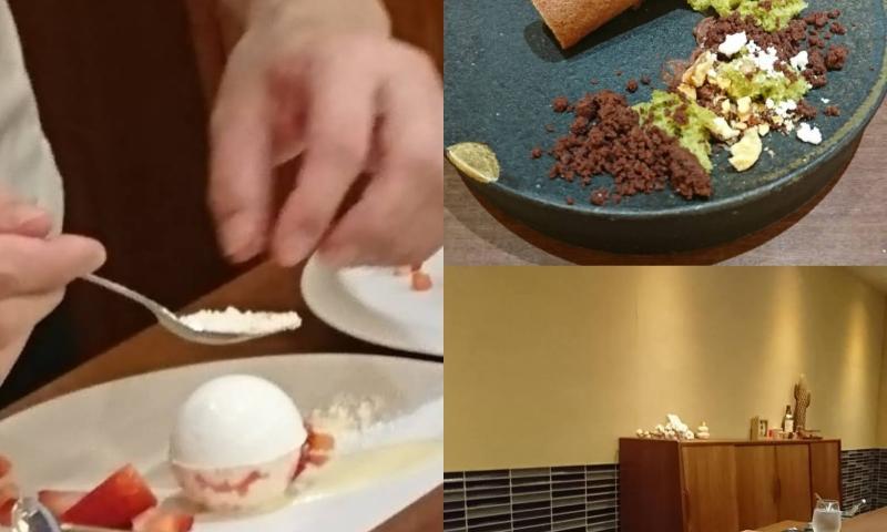 店内カウンター・菓子仕上げ作業・皿盛デザート画像