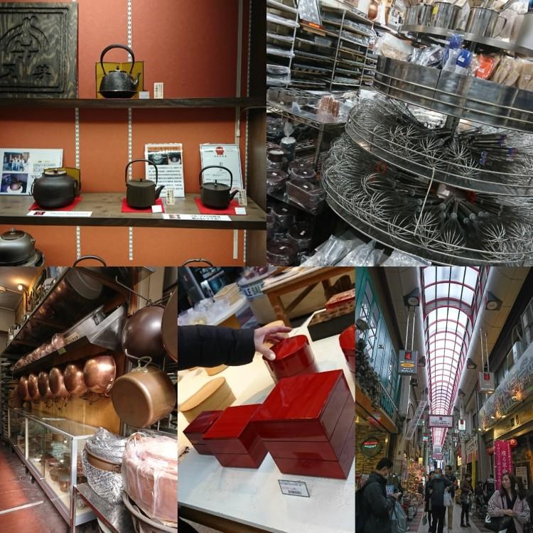菓機や漆器、南部鉄器店内に道具が並んでいます