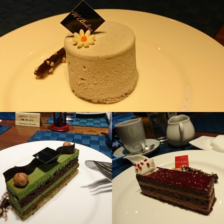 3種のケーキがそれぞれお皿の上に