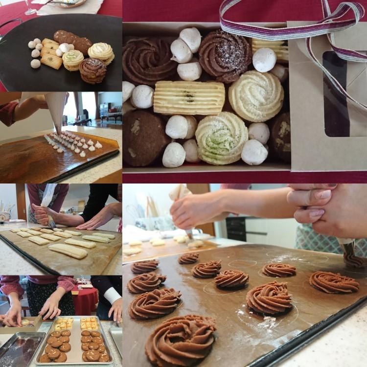 クッキー絞り作業やギフトボックス仕上げなどのレッスン風景
