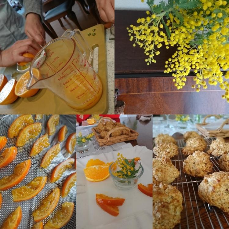 オレンジ絞り、並んだカットピール、焼き菓子、ミモザの画像が並んでいます