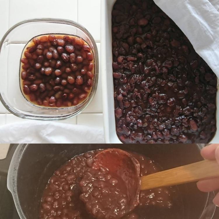 鍋で炊いている小豆と炊きあがった小豆の粒あんとぜんざいが容器に入り並んでいます