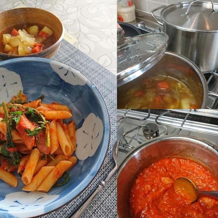 調理中の画像と完成し器に盛られたペンネと野菜スープ