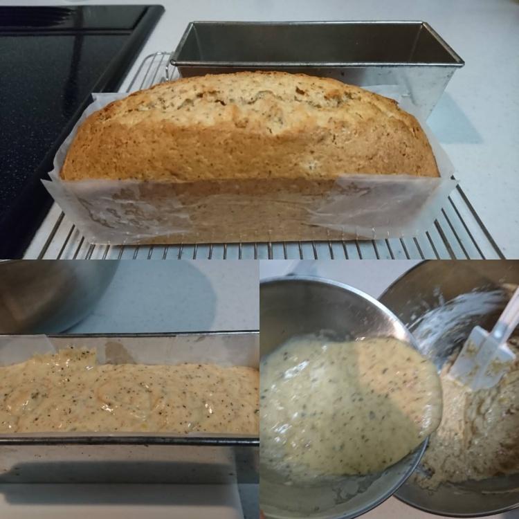 生地を混ぜ合わせている作業、型に流した生地、焼きあがったパウンドケーキの3ショット