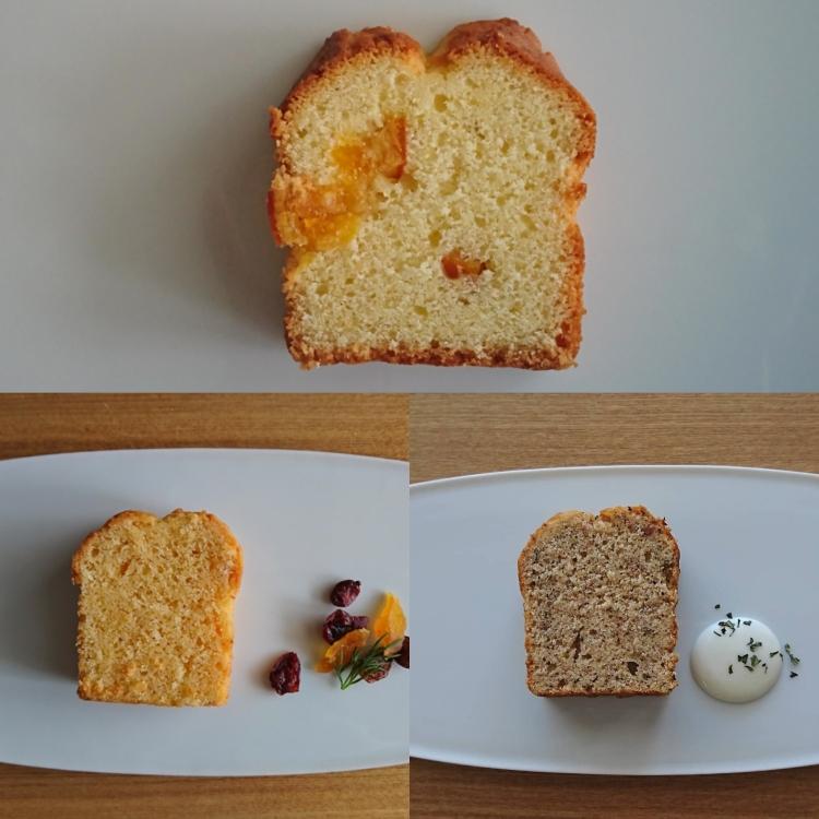 カットかれた3湯のパウンドケーキが其々のお皿に並んでいます。