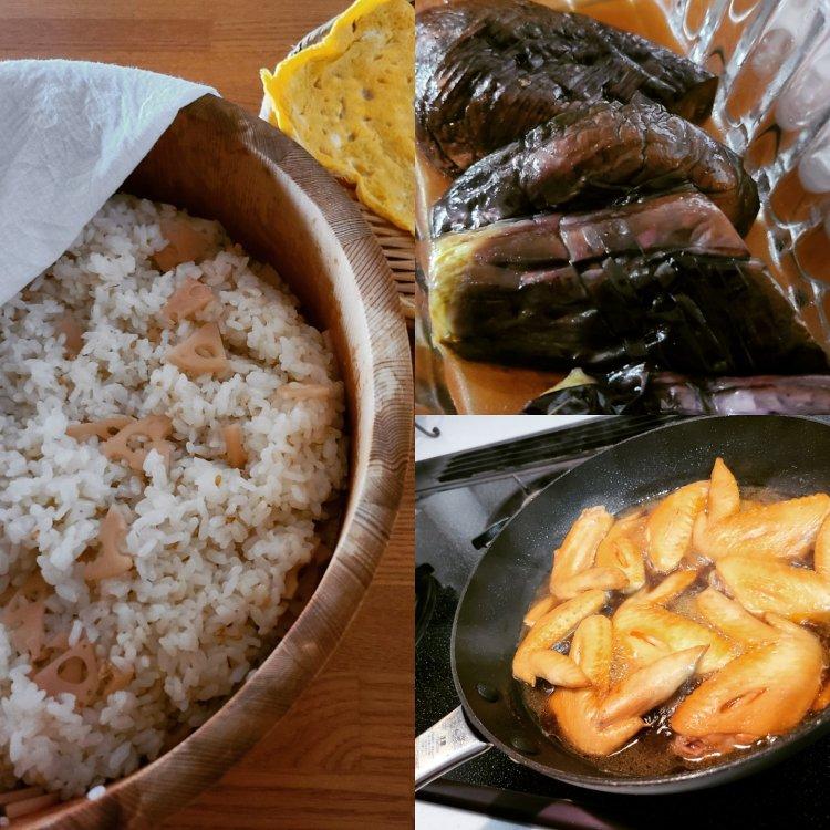 桶に入ったすし飯や茄子や手羽中の手料理が並んでいます。