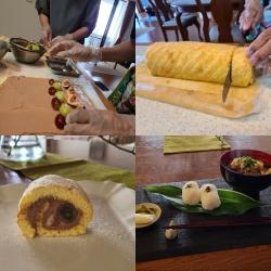 ロールケーキ作り作業風景とお料理