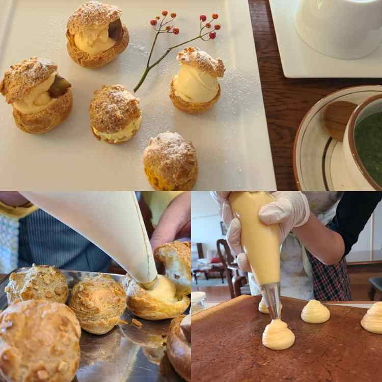 シュー生地とクリームの絞り作業と完成菓子