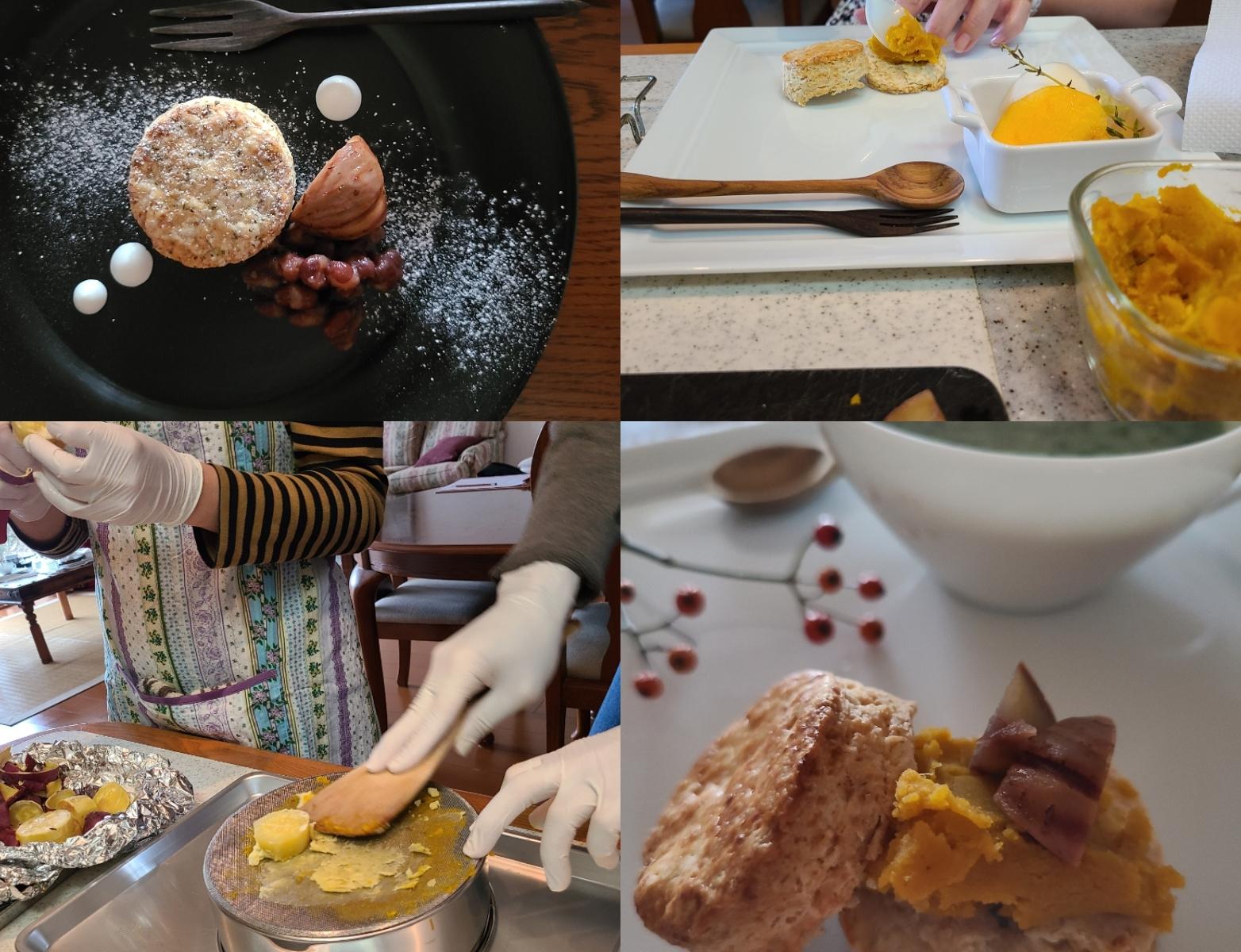 餡作り、お皿にスコーンの盛り付けなどの風景