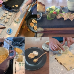 生地作り・焼き、ディップ作りの風景&お料理プレートなど。