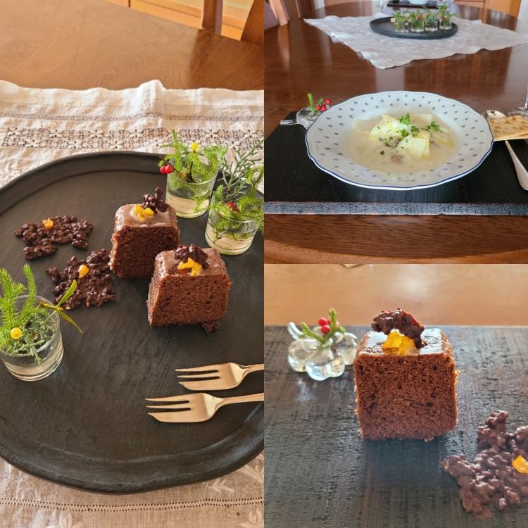 カット・ウィークエンドショコラとアーモンドショコラが盛り付けられた漆器とスープ