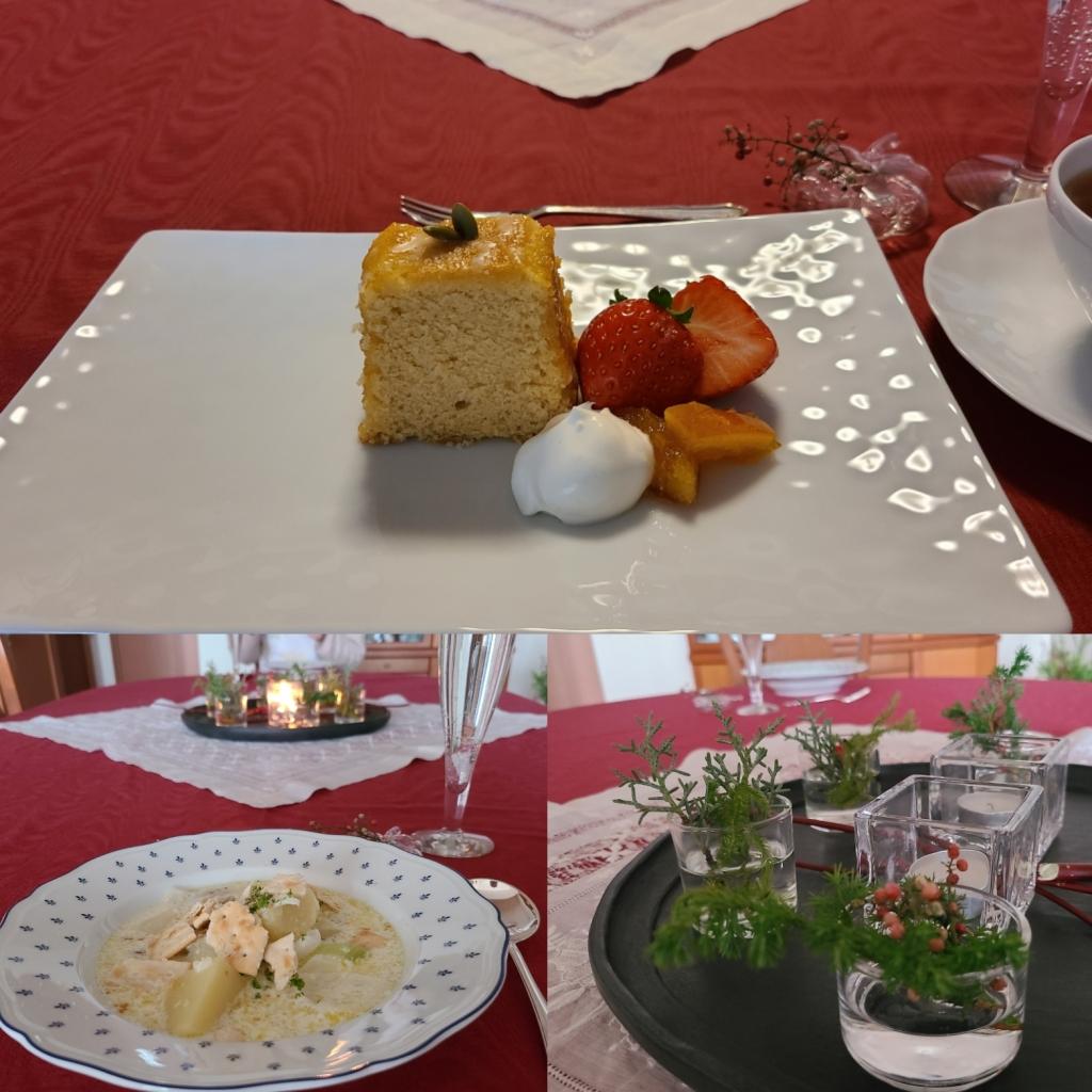 お皿に盛り付けられたケーキとお料理(テーブルデコレーション)