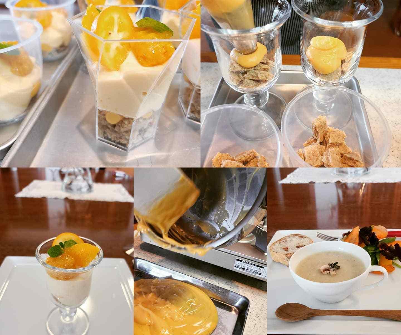 オレンジパフェ作りの風景&お料理