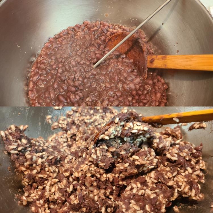 米麹小豆作りの工程2ショット