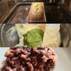 抹茶と発酵小豆のケーキ作り工程