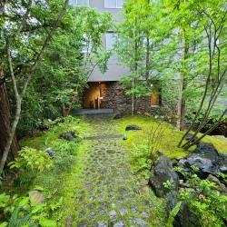 雨に濡れる緑の庭