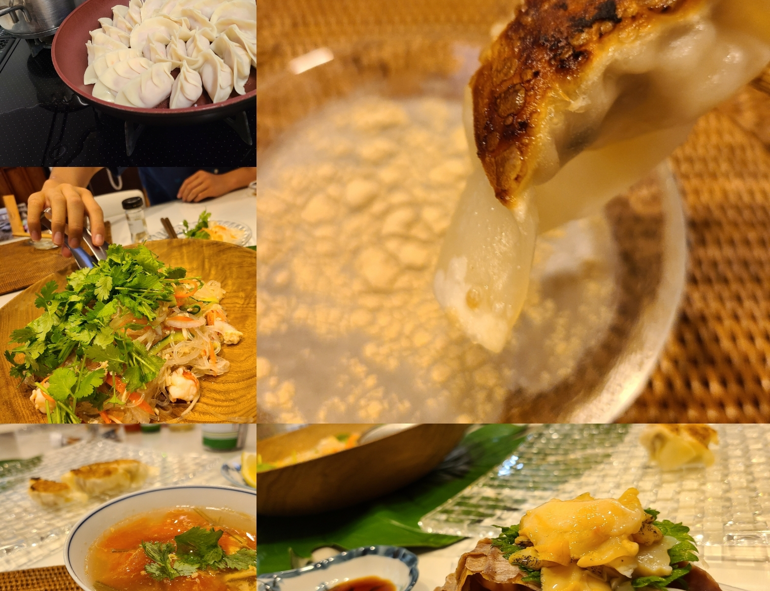 手作り餃子やスープ、サラダなどテーブルに並んでいます。