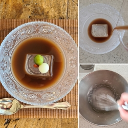 ガラスの器に入った小豆しるこ仕立てと作業風景