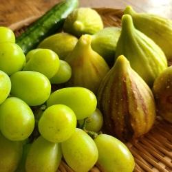 笊の無花果と葡萄と胡瓜が盛られている