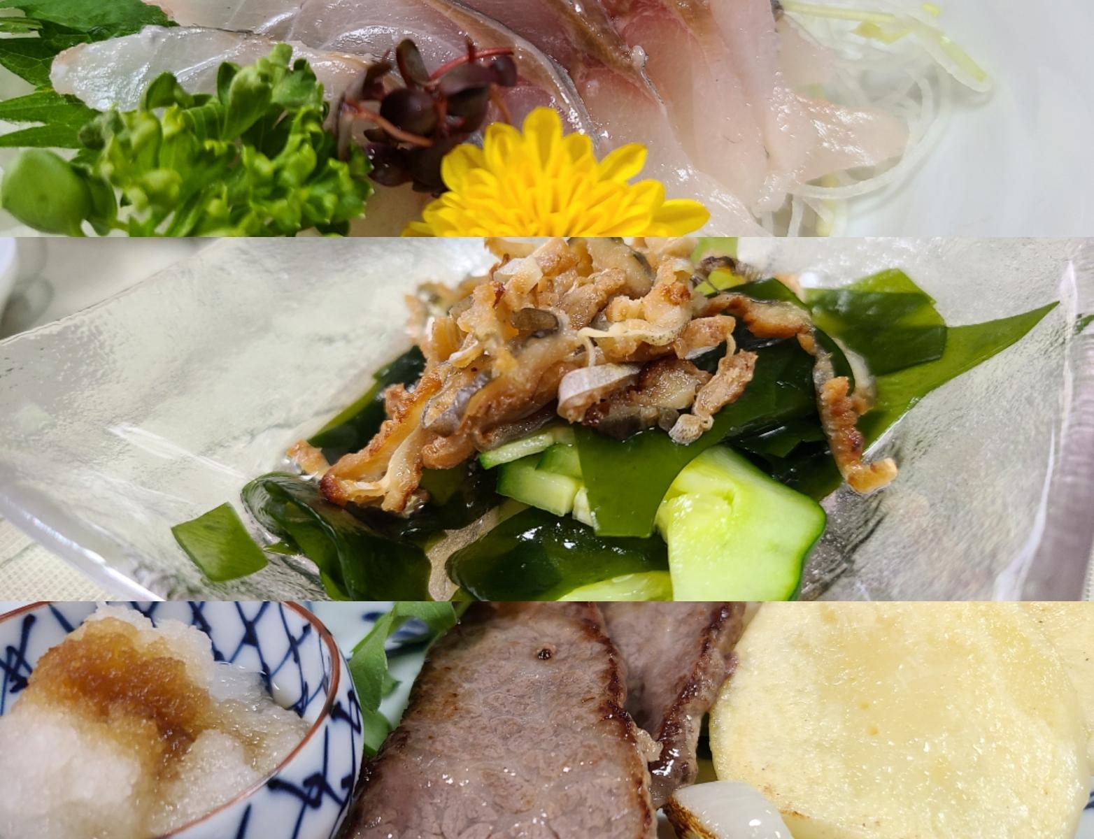 刺身や焼き肉など盛り付けられたお料理