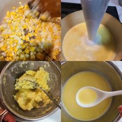コーンスープ作りの手順作業の風景